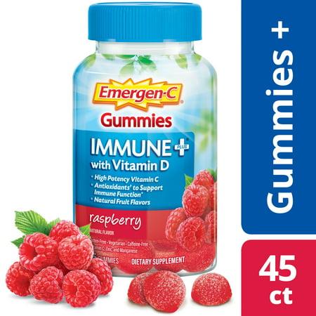 Bio Health Raspberry Leaf - Emergen-C Immune+ Vitamin C Gummies, Raspberry, 500mg, 45 ct