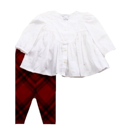 c9a34f9c Ralph Lauren - Ralph Lauren NEW White Red Plaid Print Baby Girl's ...