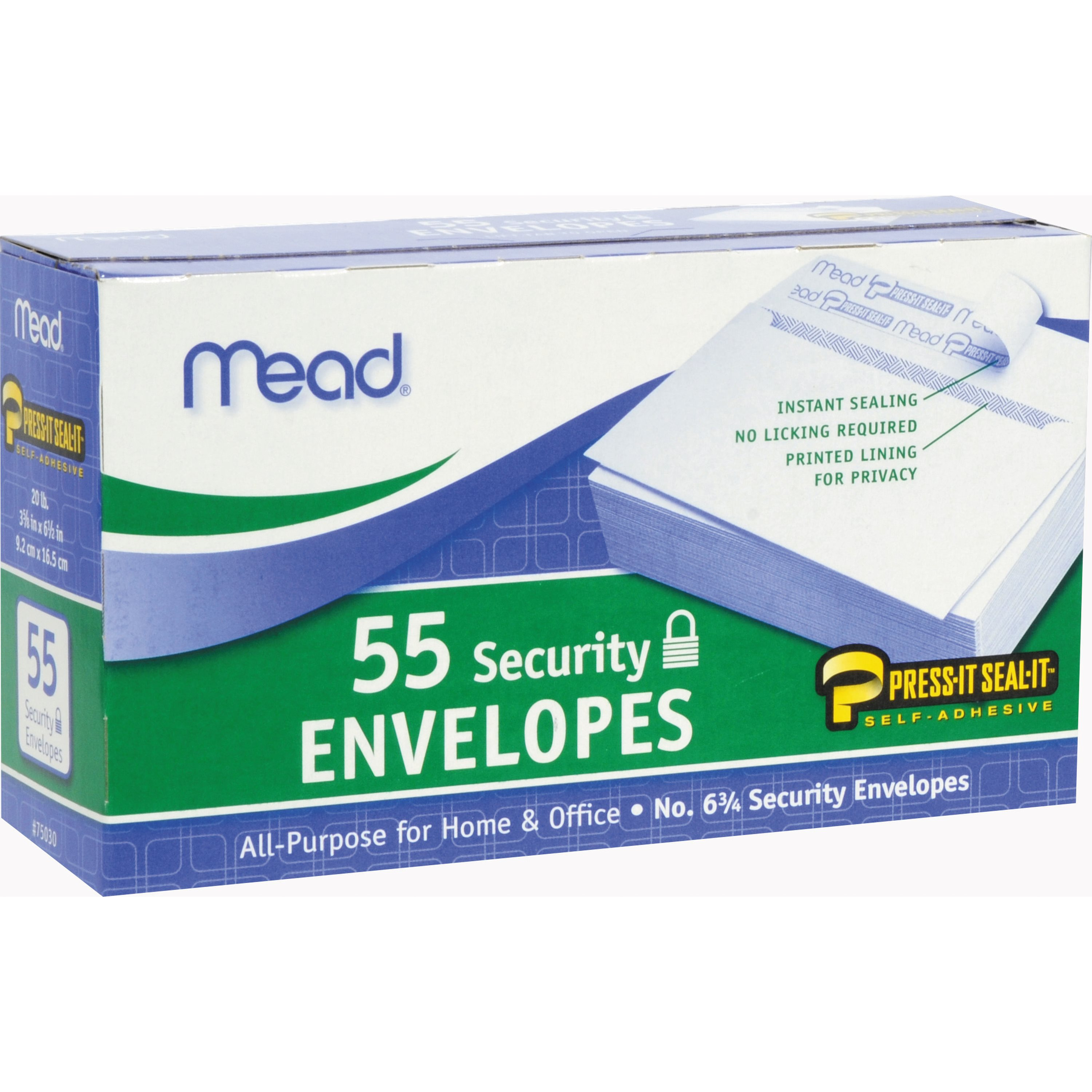 Mead Press-It Seal-It #6 3/4 Security Envelopes White #6 3/4 (75030)