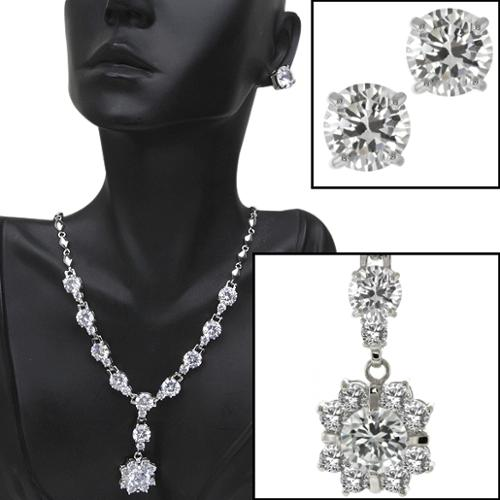 """Stunning and Big 75 Ct Cubic Zirconia CZ 18"""" Necklace and Earrings Set"""