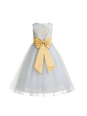 EkidsBridal White Floral Lace Heart Cutout Flower Girl Dresses Baptism First Communion Dresses 172T