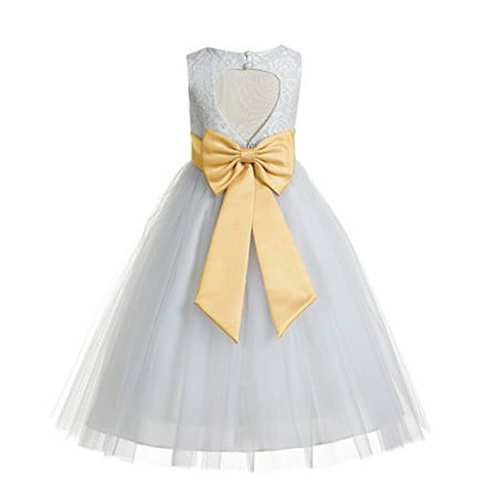 EkidsBridal Floral Lace Heart Cutout Ivory Flower Girl Dresses Holy Communion Dresses Baptism Dress 172T - Wisteria Dress