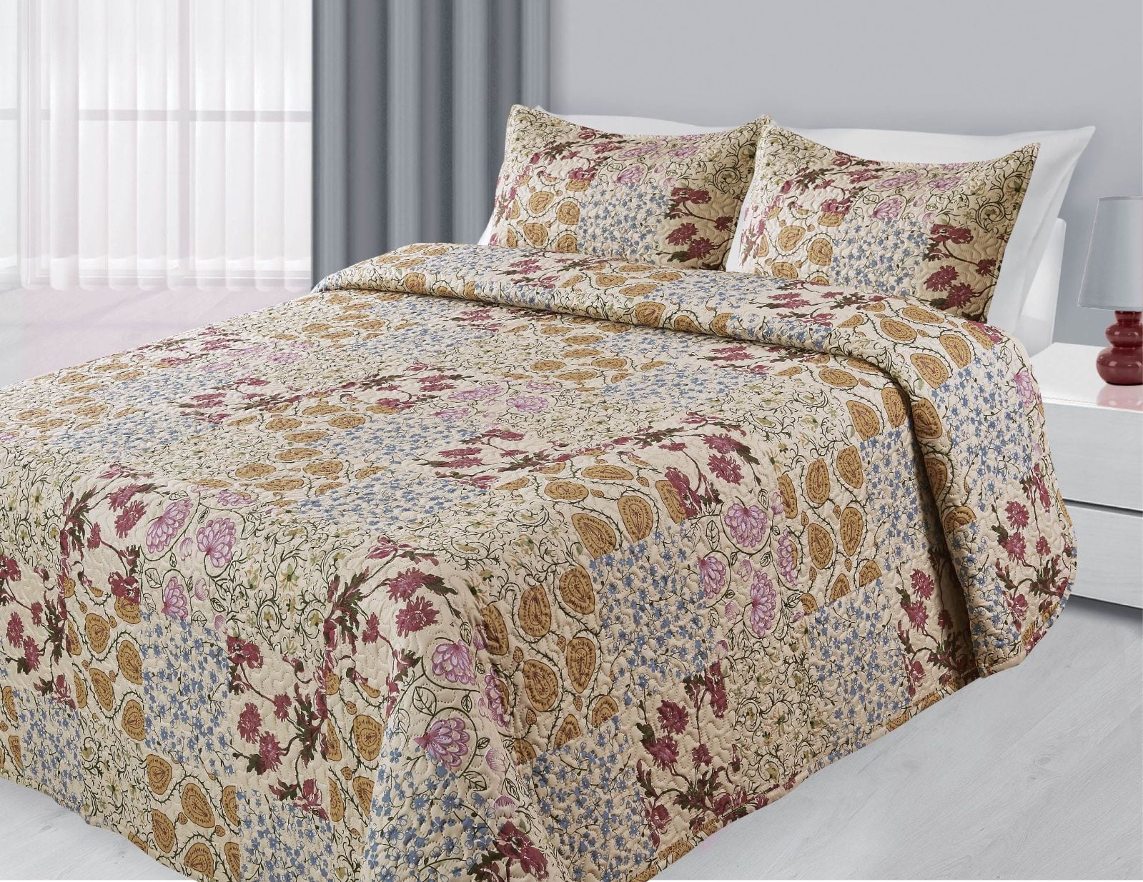 3-Piece Reversible Quilted Printed Bedspread Coverlet Beige Patchwork Flowers Queen Size by