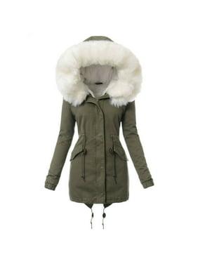 Winter Women Fur Hooded Coat Warm Cotton Padded Jacket