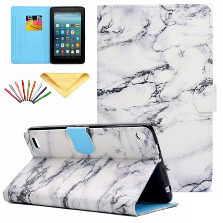 Fire 7 2015 Case, Allytech PU Leather Smart Case with Card Slots Stylus Pen Folio Cover for Amazon Kindle Fire 7.0 inch (5th Generation 2015 Release), Marble (Card Case For Amazon Fire Phone)