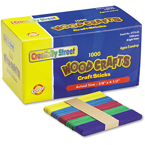 "Chenille Kraft Colored Wood Craft Sticks, 4-1/2"" x 3/8"", Assorted, 1000/Box"
