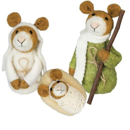 PBK Christmas Decor - Felt Holy Family Joseph Mary Jesus Mouse Nativity