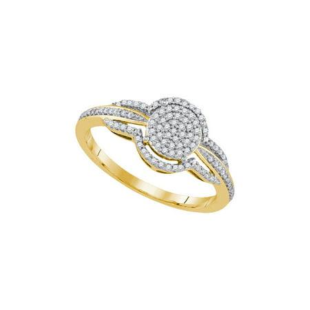 10K Yellow Gold 0 20Ctw Shiny Diamond Fashion Center Round Micro Pave Ring