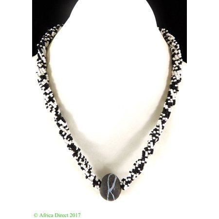 Necklace Seed Beads Black White Africa - White Bead Necklaces