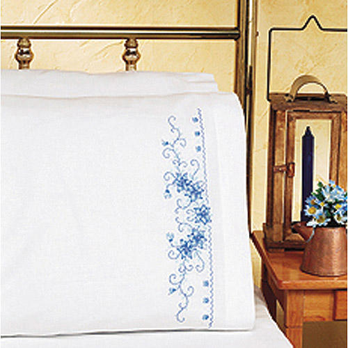 "Janlynn Blue Floral Pillowcase Pair Stamped Cross Stitch, 20"" x 30"""