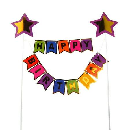 Happy Birthday Cake Topper Banner 11 1 2 Inch