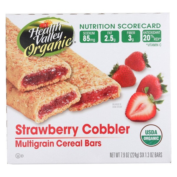 Health Valley Organic Multigrain Cereal Bars - Strawberry Cobbler - pack of 6 - 7.9 Oz.