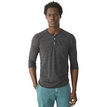 Mens Eco Jersey 3 4 Sleeve Raglan Henley   Eco Black   Xs