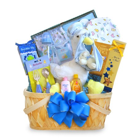 (A California Delicious Special Stork Delivery Baby Boy Baby Gift Basket)