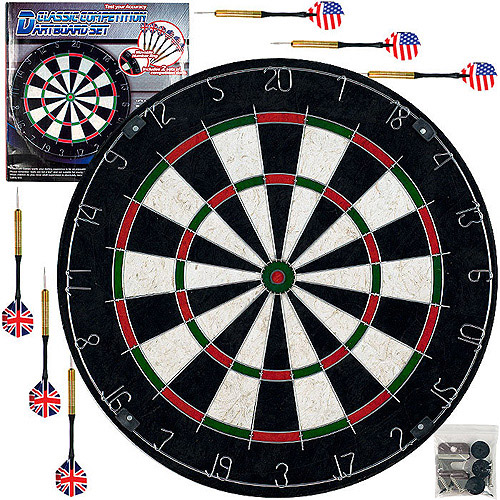 Trademark Games Pro Style Bristle Dart Board Set with 6 Darts and Board