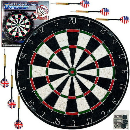 Trademark Games Pro Style Regulation Size Bristle Dart Board Set with 6 Darts & Board Dart Games For Kids