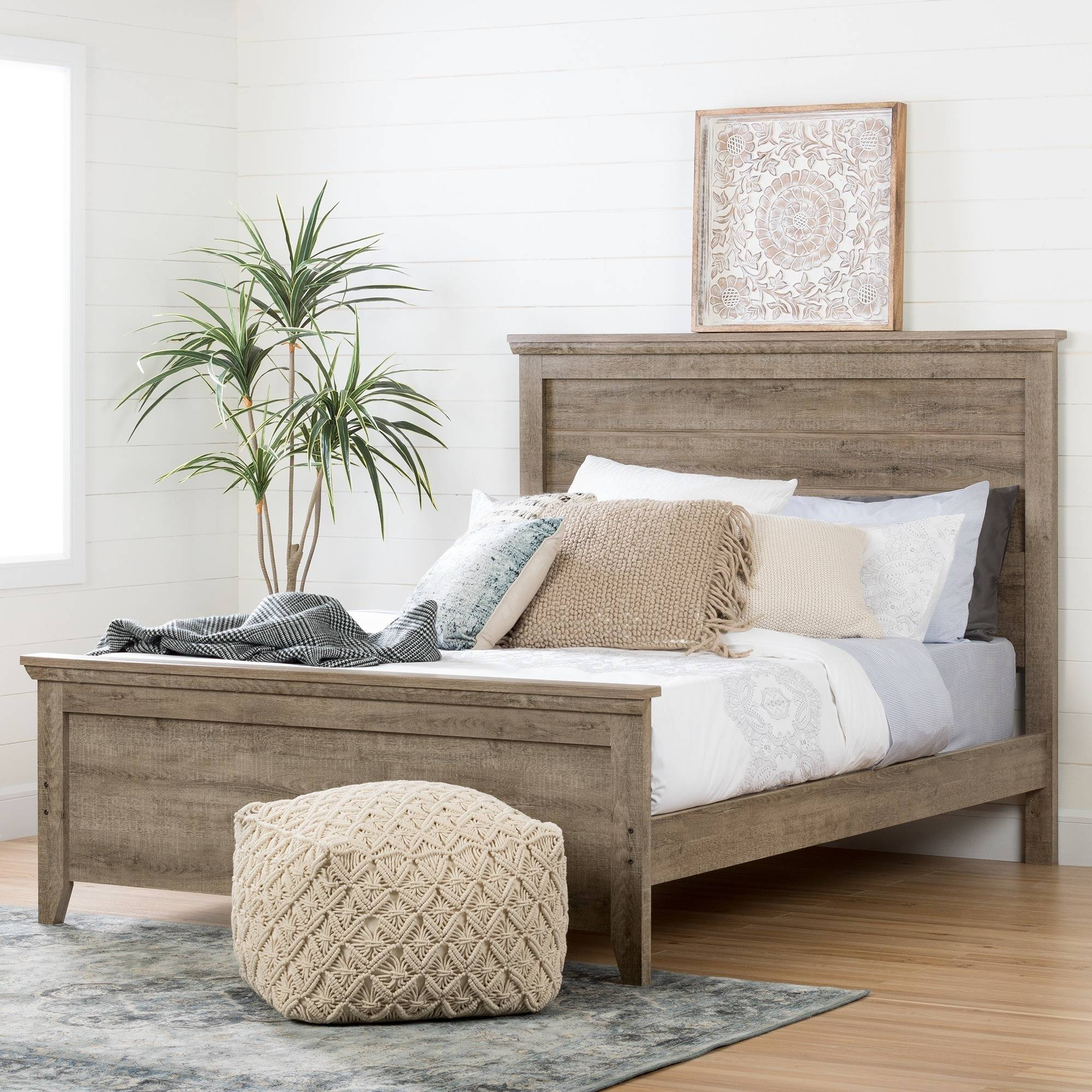 "South Shore Lionel Queen Platform Bed Set (60""), Weathered Oak"