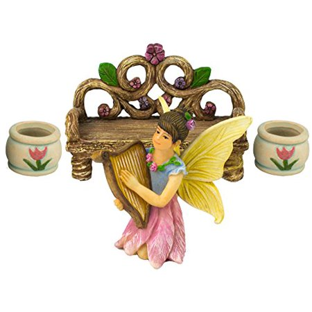 The Magical Harp Fairy Helen (Four Piece) Garden Fairy Set by Twig & Flower