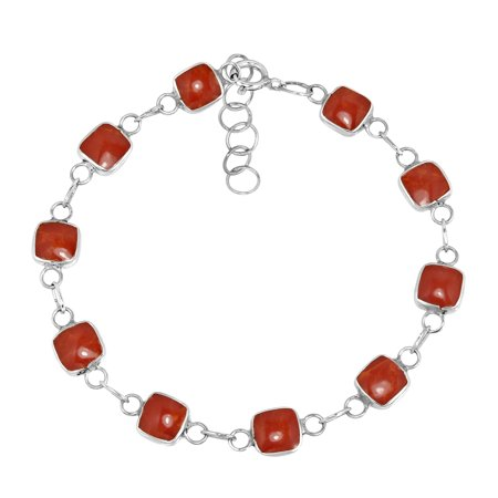 Modenist Square Link Red Coral Double Sided Sterling Silver Bracelet