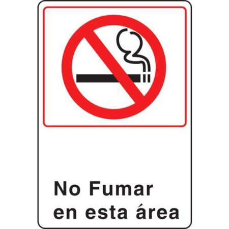 Spanish No Smoking In This Area Acrylic Architectural Sign, 6 x 9