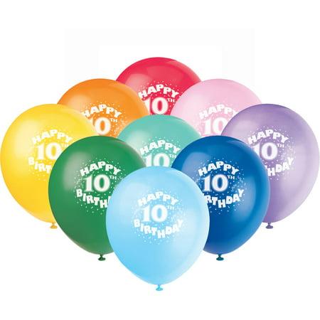 128221 Latex Happy 10th Birthday Balloon