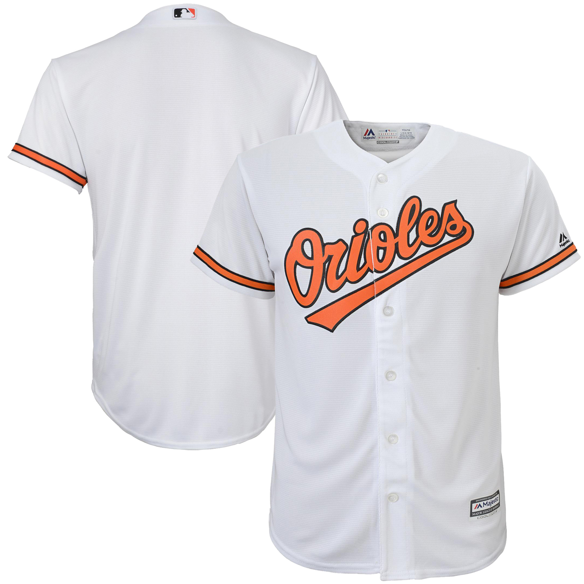 Baltimore Orioles Majestic Preschool Official Cool Base Team Jersey White by Outerstuff
