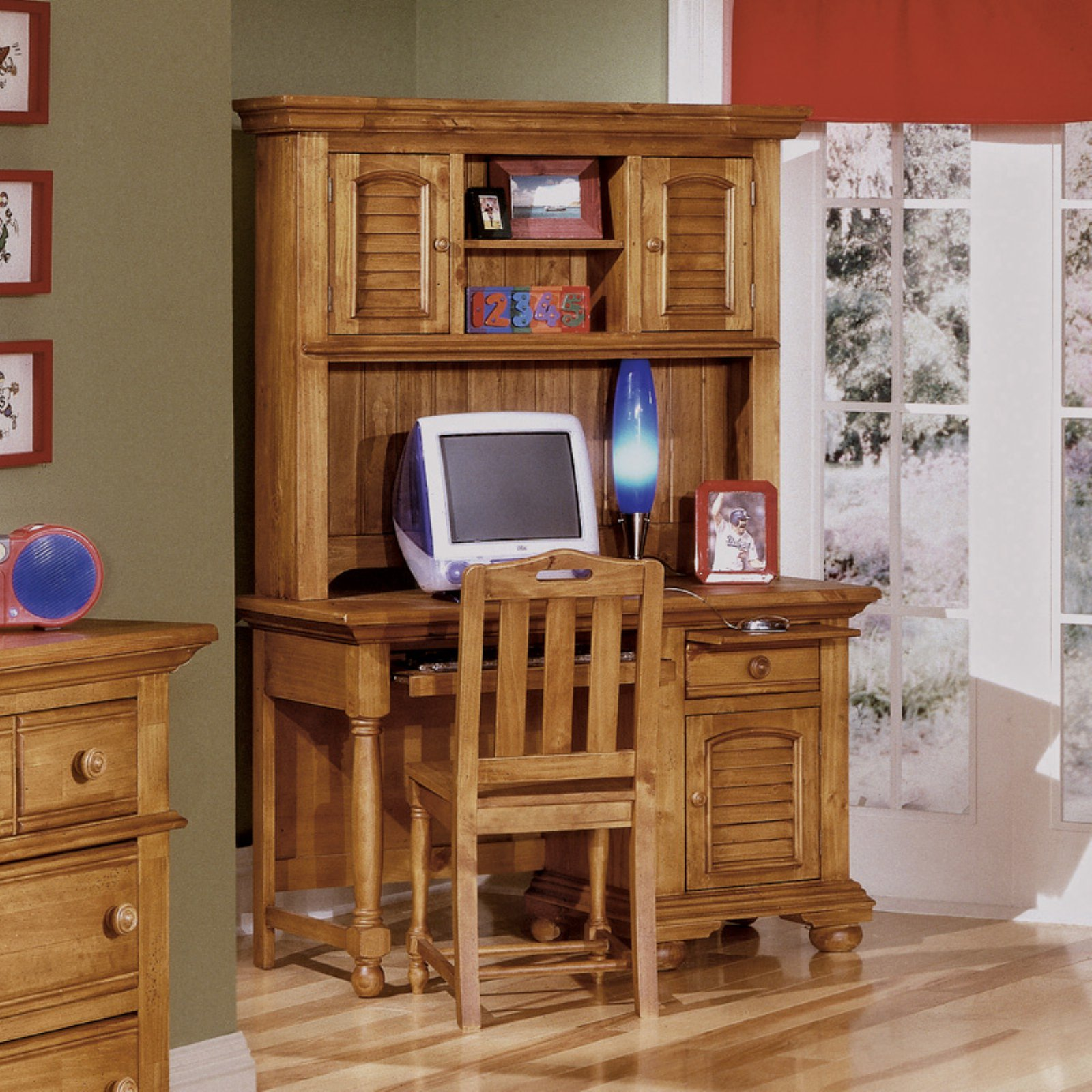American Woodcrafters Cottage Traditions Desk and Chair Set with Optional Hutch