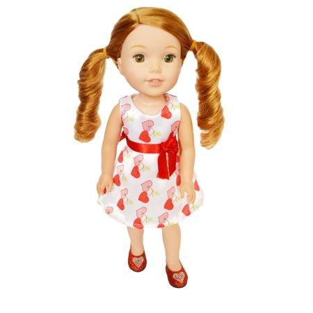 My Brittany's Satin Valentines Day Heart Dress for Wellie Wisher Dolls and Glitter Girls- 14 Inch Doll Clothes Only - Glitter For Girls