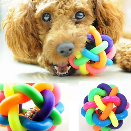 Colorful Round Pet Dog Cat Chewing Toy Rubber Knotted Ball With Bell