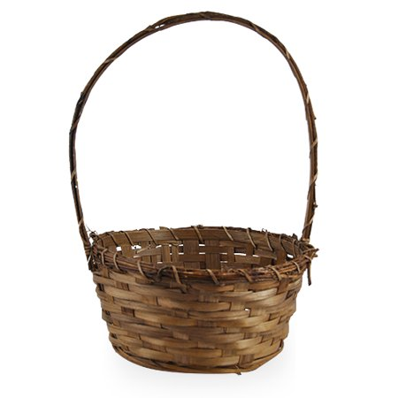 Vine Handle - Round Bamboo Handle Basket with Vine Rim 8in