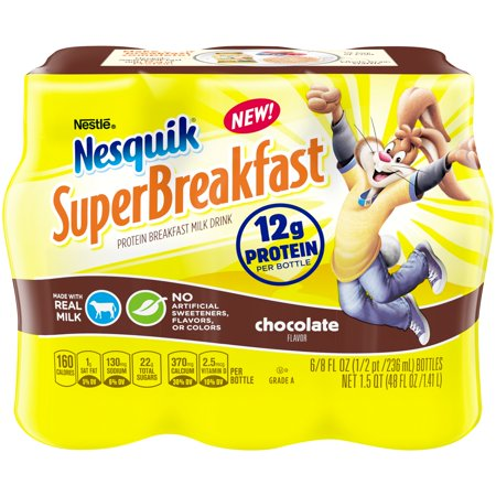 NESQUIK SUPERBREAKFAST Protein Breakfast Milk Drink, Chocolate – Portable Breakfast Drink with Real, Wholesome Milk, No Artificial Sweeteners, Colors or Flavors, 8 fl. oz. Bottles, Pack of 6