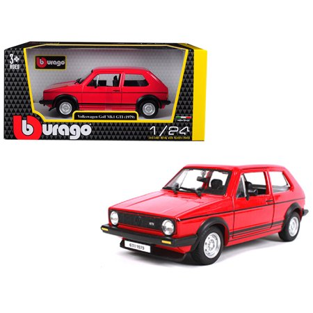 Gti Cat - 1979 Volkswagen Golf Mk1 GTI Red with Black Stripes 1/24 Diecast Model Car by Bburago