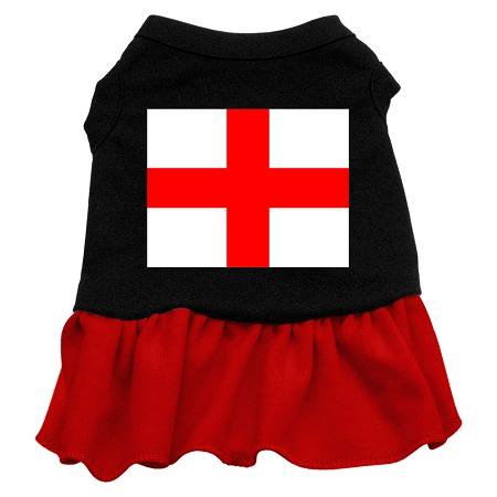 St. Georges Cross Screen Print Dress Black with Red Med (12) (1970 Dress Attire)