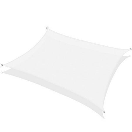 Rectangular Sun Shade Sail 18 x 22 Ft UV Block Fabric White