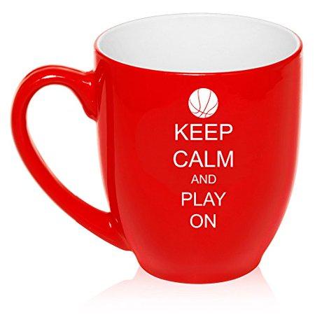 16 oz Large Bistro Mug Ceramic Coffee Tea Glass Cup Keep Calm and Play On Basketball (Red)