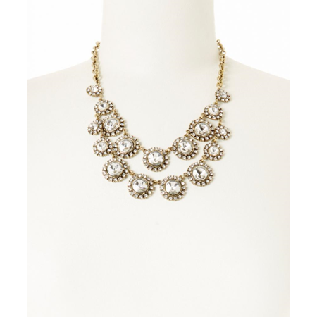 Lux Accessories Gold & Crystal Tiered Circle Bib Necklace