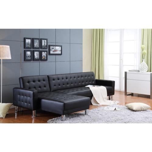 THY HOM the Hom Marsden 2 piece Black Tufted Bi cast Leather Sectional Sofa Bed Walmart