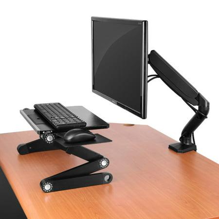 Swivel LCD Monitor Arm w/ Universal VESA Mount. Adjustable Height, Ergonomic, Single Desktop Computer Mount + Easy Gas Spring Adjustment + 2 USB Ports