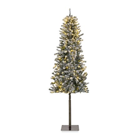 Best Choice Products 6ft Pre-Lit Snow Flocked Hinged Artificial Alpine Christmas Tree Holiday Decoration w/ 250 LED Lights, 700 Tips, Metal