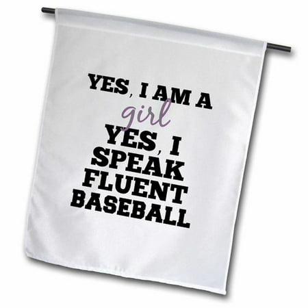 3dRose Baseball Girl Polyester Garden Flag