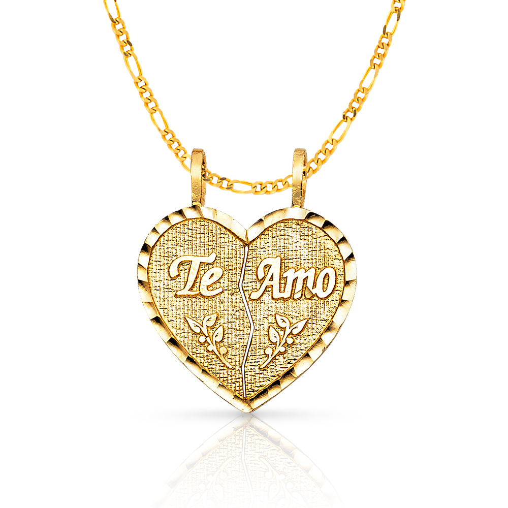 14k Yellow Gold I Love You Heart Hand Sign Charm Pendant with Figaro Chain Necklace