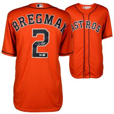 brand new 92086 ef5f4 Alex Bregman Houston Astros Autographed Majestic Orange Replica Jersey