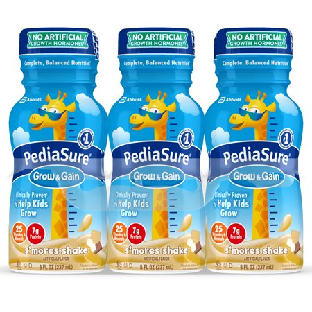 PediaSure Grow & Gain Kids' Nutritional Shake, with Protein, DHA, and Vitamins & Minerals, S'mores, 8 fl oz,
