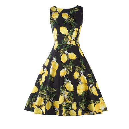 Women Vintage 1950s Cocktail Party Floral Swing Dress Lemon Print Summer Sleeveless Retro Rockabilly Prom Pin up Dresses (1950s Party)