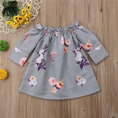 Newborn baby toddler child baby girl dress floral print long sleeve simple and comfortable clothes 0-4 years