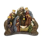 """13"""" Battery Operated Lighted Religious Nativity Scene Christmas Table Top Decoration"""