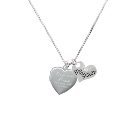 Silvertone You Are More Loved Engraved Locket Big Sister Heart