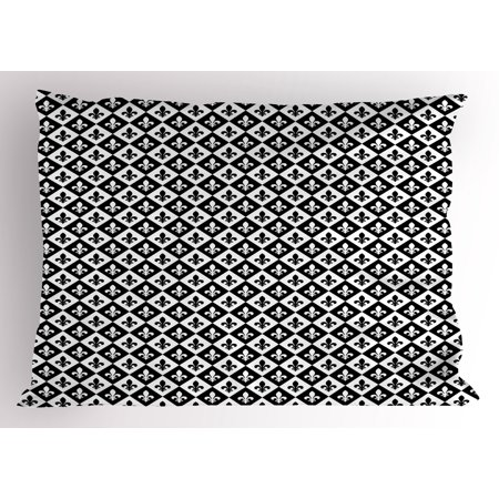 Fleur De Lis Pillow Sham Checkerboard Pattern Rectangles European Heraldic Design Monochrome Emblem, Decorative Standard Size Printed Pillowcase, 26 X 20 Inches, Black White, by Ambesonne ()