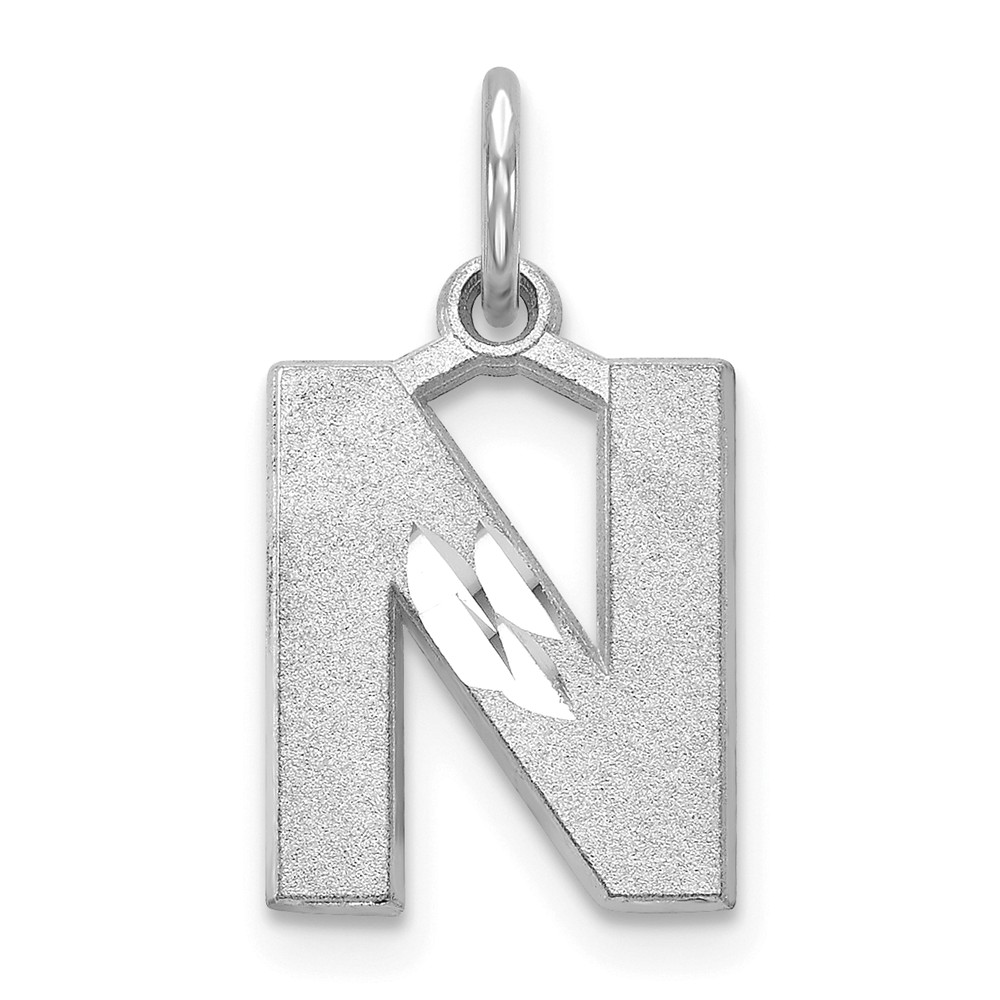 14K White Gold Solid Satin Diamond-Cut Initial N Charm (0.8in long x 0.4in wide)
