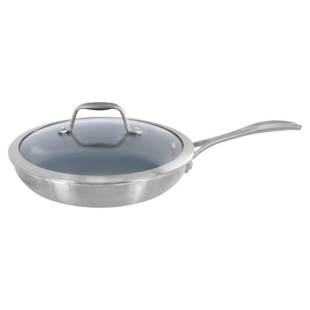 """ZWILLING Spirit 3-ply 9.5"""" Stainless Steel Ceramic Nonstick Fry Pan with Lid"""